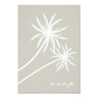 White Palm Trees Wedding RSVP Card