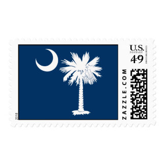 White Palmetto with Blue Background Postage