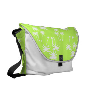 White Palms on Lime Courier Bag