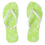 White Palms on Lime Flip Flops