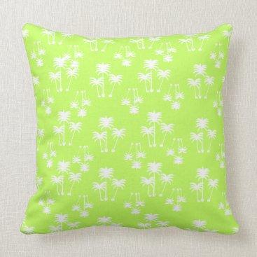 Beach Themed White Palms on Lime Throw Pillow