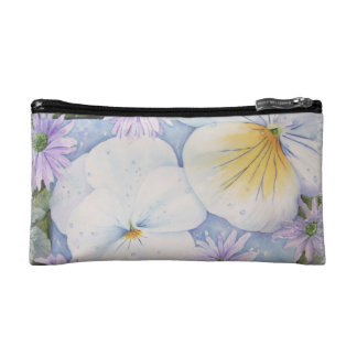 WHITE PANSIES MONOGRAMED COSMETIC/CLUTCH BAG