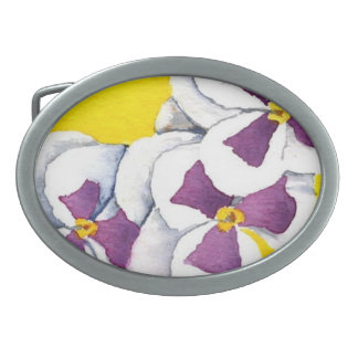 """""""White Pansy"""" Floral Belt Buckle"""