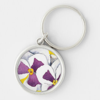 """""""White Pansy"""" Floral Keychain"""