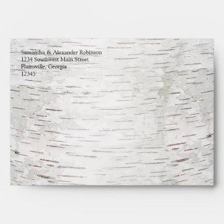 White Paper Birch Tree Bark Rustic Wood Wedding Envelope