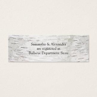 White Paper Birch Tree Bark Rustic Wood Wedding Mini Business Card