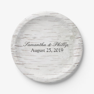 White Paper Birch Tree Bark Rustic Wood Wedding Paper Plate