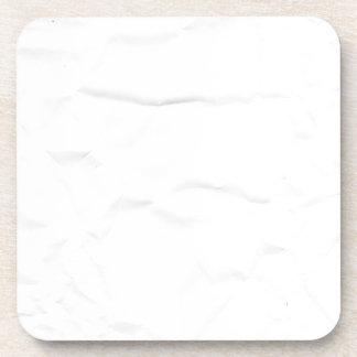 WHITE paper crease creased texture crumple crumple Beverage Coasters