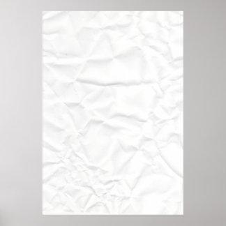 WHITE paper crease creased texture crumple crumple Poster
