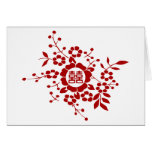 White • Paper Cut Flowers • Double Happiness Greeting Card