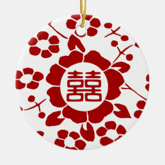 White • Paper Cut Flowers • Double Happiness Ceramic Ornament