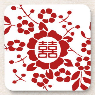White • Paper Cut Flowers • Double Happiness Coaster