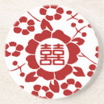White • Paper Cut Flowers • Double Happiness Drink Coaster