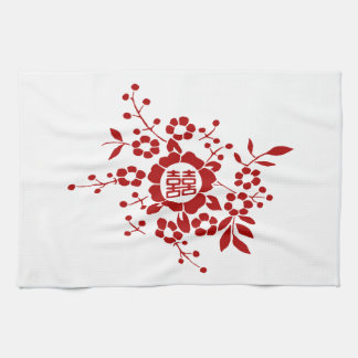 White • Paper Cut Flowers • Double Happiness Hand Towels