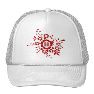 White • Paper Cut Flowers • Double Happiness Trucker Hat