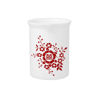 White • Paper Cut Flowers • Double Happiness Pitchers