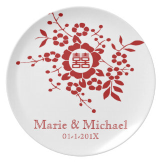 White • Paper Cut Flowers • Double Happiness Party Plate