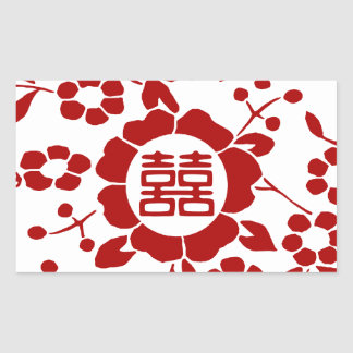 White • Paper Cut Flowers • Double Happiness Rectangular Sticker