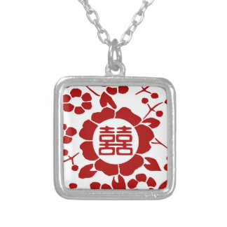 White • Paper Cut Flowers • Double Happiness Silver Plated Necklace
