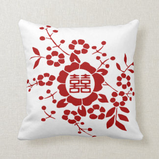 White • Paper Cut Flowers • Double Happiness Throw Pillow