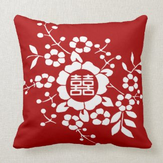 White Paper Cut Flowers • Happiness • Any Color Throw Pillow