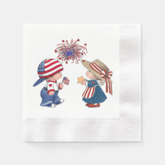 White Paper Napkins Coined Edges-July 4th Kids Disposable Napkin