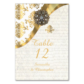 White parchment and gold vintage damask wedding card