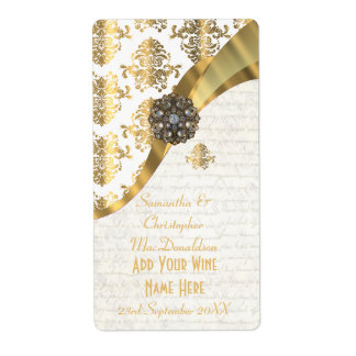 White parchment  gold damask wedding wine bottle label