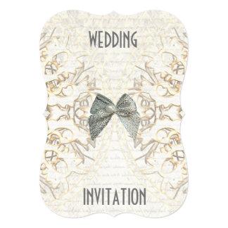 White parchment lace paper cut damask wedding card