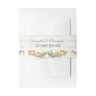 White parchment paper cut lace damask wedding invitation belly band