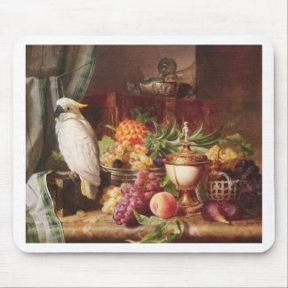 White Parrot exotic fruit bird cockatiel Mouse Pad