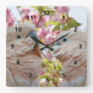 White Parrots and Cherry Blossoms Square Wall Clock