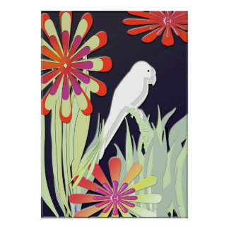 White Parrots with Flowers Print