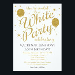 """White Party Invitation All White Party Invite<br><div class=""""desc"""">This fun white party invitation features gold glitter balloons and stars. It has elegant and whimsical flair with a stylish edge. You guest of honor love this All White birthday party invitation. Not just for birthdays, but perfect for 21st 30th 35th 40th 45th 50th 60th 65th 70th 75th 80th 85th...</div>"""
