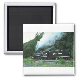 White Pass and Yukon in White Pass out of Skagway, 2 Inch Square Magnet