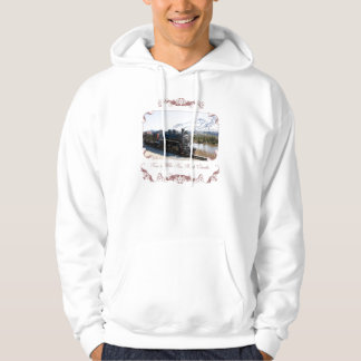 White Pass Train in Snow Hooded Sweatshirt