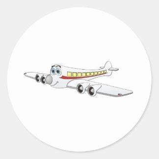 White Passenger Jet Cartoon Classic Round Sticker