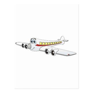 White Passenger Jet Cartoon Postcard