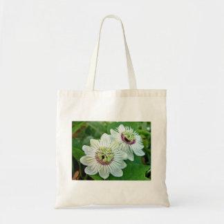 White Passionfruit cream flowers Canvas Bags