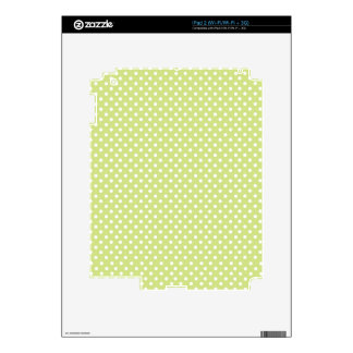White & Pastel Green PolkaDot Pattern Decal For iPad 2