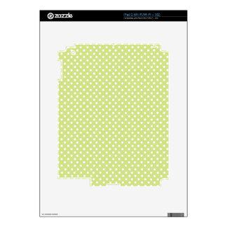 White & Pastel Green PolkaDot Pattern iPad 2 Skins
