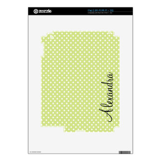 White & Pastel Green PolkaDot Pattern Decal For iPad 2