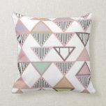 White Pastel Triangles Pattern  Pillow