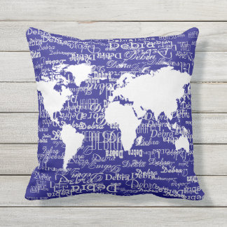 white pattern of names & world map on deep-blue outdoor pillow