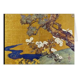 white Paulownias and Chrysanthemums, Sakai Hoitsu Greeting Cards