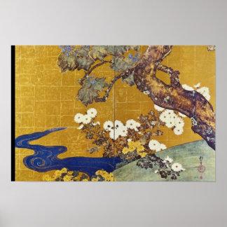 white Paulownias and Chrysanthemums, Sakai Hoitsu Poster