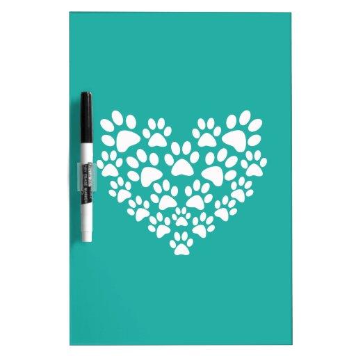 White Paw Print Heart