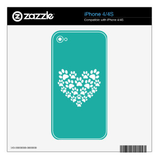 White Paw Print Heart - Choose Background Color iPhone 4 Skin