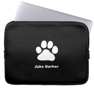 White Paw Print on Black - Custom Text and Color Computer Sleeve