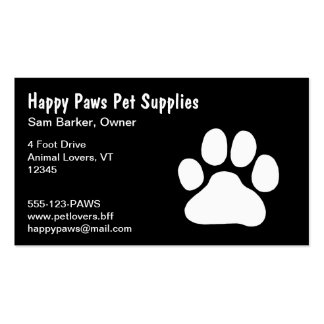 White Paw Print on Black - (Custom Text & Colors) Business Card